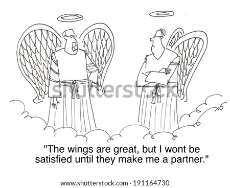 """""""The wings are great, but I won't be satisfied until they make me a partner."""" - stock photo"""