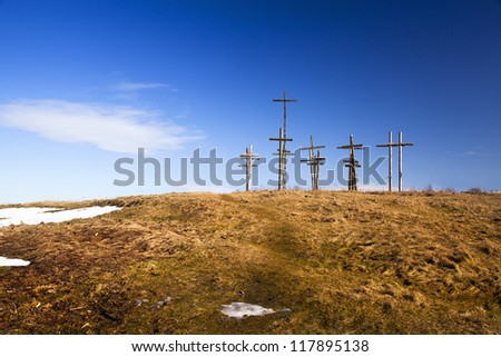 the wooden crosses located on a height in the city of Oshmyany, Belarus