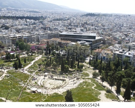 Theatre of Dionysus and Acropolis Museum in Athens, Greece - stock photo