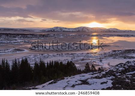 Thingvellir National Park in Iceland. - stock photo