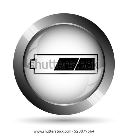 2 thirds charged battery icon. 2 thirds charged battery website button on white background.