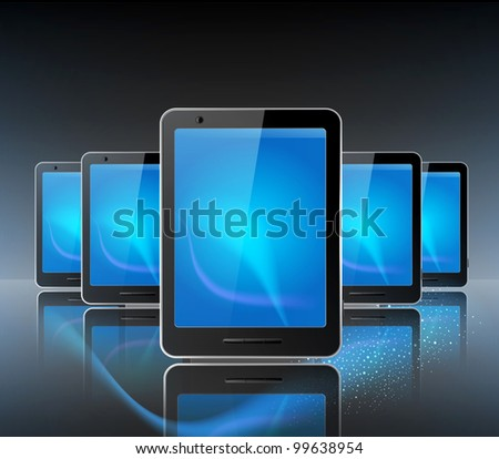 three computer tablet on the grey background and reflection