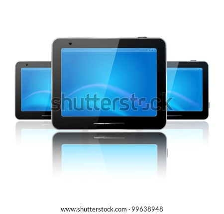 three computer tablet on the white background and reflection