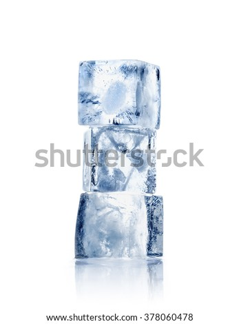 Three ice cubes on a white background with reflection - stock photo