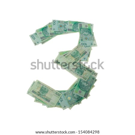 3 - three number character- isolated with clipping patch on white background. Letter made of Polish hundred zlotys green bank notes - 100 PLN - stock photo