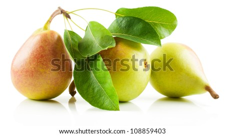 Three red-yellow pear  fruits with leaves are isolated on a white background