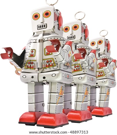 three robost  in line - stock photo