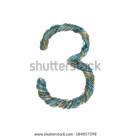 3, three, set of numbers of twisted wire - stock photo