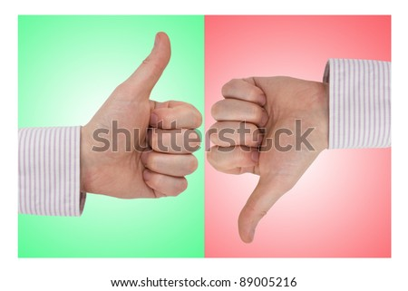 Thumb up and Thumb Down on Green and Red Background - stock photo