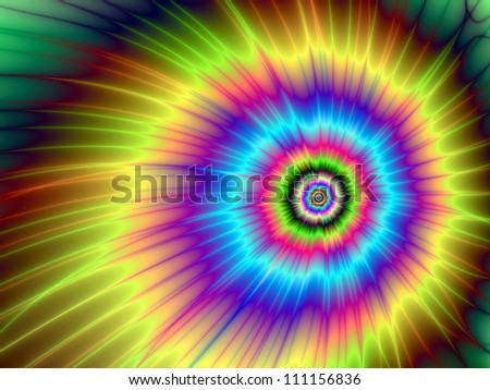 Tie-Dyed Color Explosion/Digital abstract image with a tie-dye explosion of color design in yellow, blue, purple, green, and red.