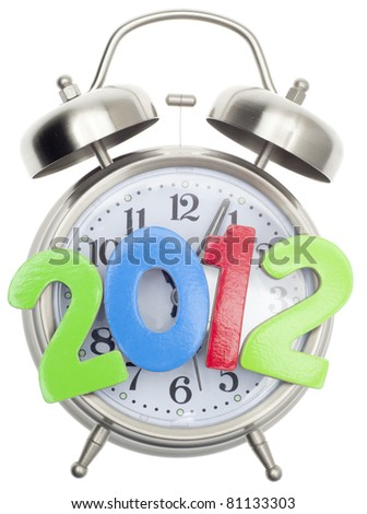 2012 Time Concept, New Year or End of World Isolated on White. - stock photo