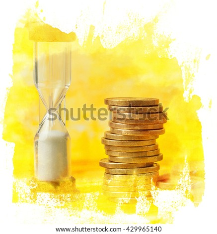 'Time is money' concept: a digital collage of a photo of an hourglass with a pile of coins, against a blurred yellow background with copyspace, in a golden textured hand painted frame - stock photo