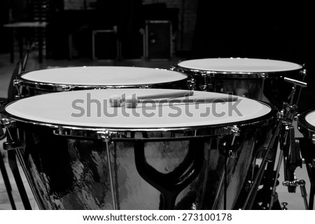 Timpani closeup in black and white - stock photo