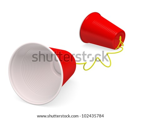 """Tin can telephone"" made up of two red plastic cups on white background with clipping path. 3D render. - stock photo"