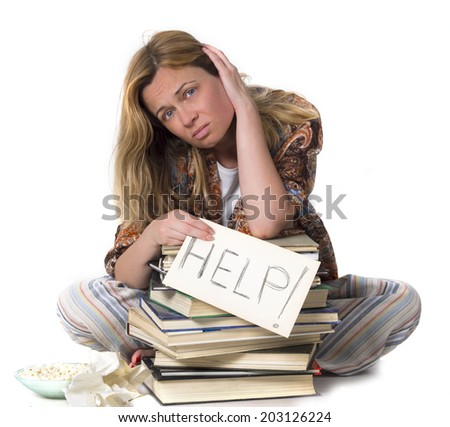 tired student needs help - stock photo
