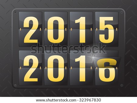2015 to 2016 New Year Flip Calendar. This ultra dynamic 3D illustration of a steel flip countdown calendar is a great way to inform of the impending New Year.  - stock photo