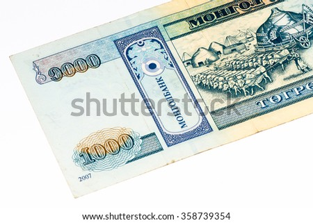 1000 togrog bank note. Togrog is the national currency of Mongolia
