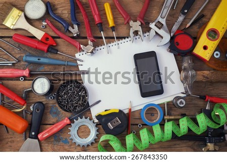 Tools on a timber floor                            - stock photo