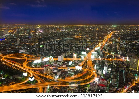 top view of Expressway Highway in Bangkok Thailand.