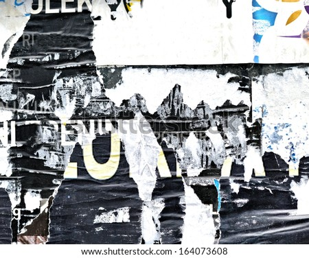 Torn posters / Painting / Art / Peeling paint / Grunge background / Graffiti / Abstract - stock photo
