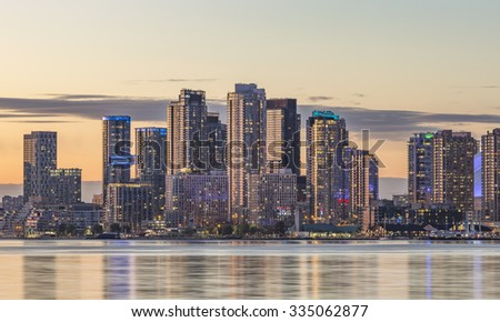 Toronto Harbourfront  district skyline with the adjacent skyscrapers