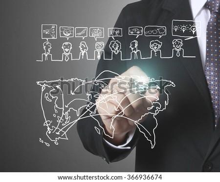 touching virtual icon of social network - stock photo