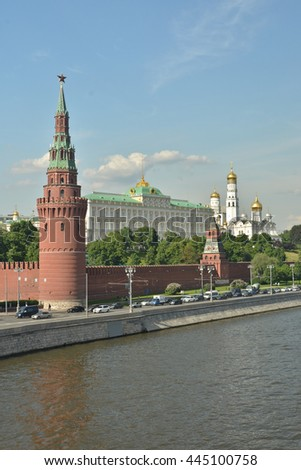 Tower and part of the wall of the Kremlin on a summer day. - stock photo