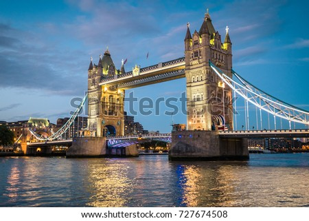 Tower bridge, one of several attraction places in London, illuminating after the sunset