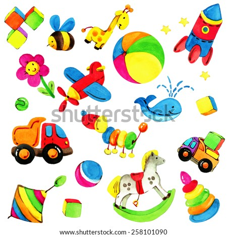 toy background for children. decorative element and colorful background for baby, kid, gift wrapping paper. watercolor illustration - stock photo