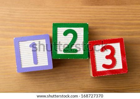 123 Toy block - stock photo