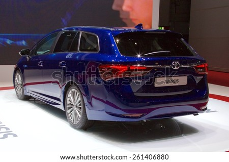 2015 Toyota Avensis presented the 85th International Geneva Motor Show on March 3, 2015 in Palexpo, Geneva, Switzerland
