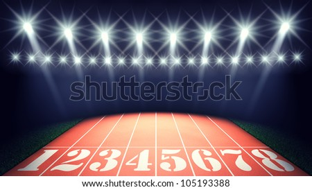 Track lanes and floodlights - stock photo