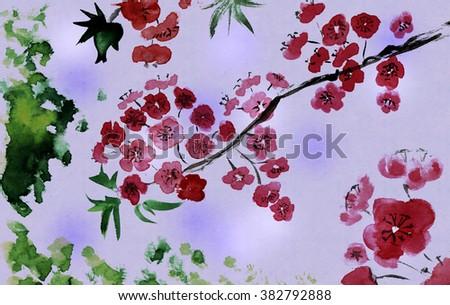 Traditional Artistic plum blossom - stock photo