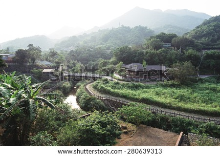 Traditional Chinese Building in a Valley, Jingtong, New Taipei, Taiwan