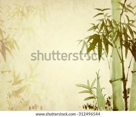 Traditional chinese painting Bamboo on old Paper Background - stock photo