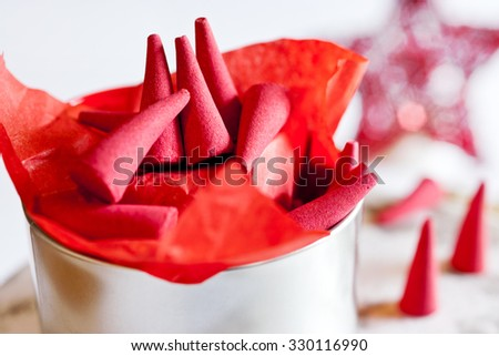 traditional Czech christmas - red smoking incense cones