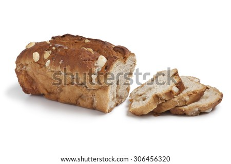 Traditional dutch sugar bread cut into slices on white background - stock photo