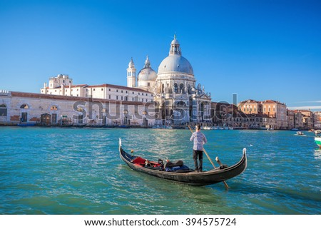 traditional Gondolas on Grand Canal in Venice, Italy - stock photo