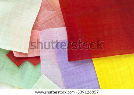 Traditional patchwork background of ramie fabric.