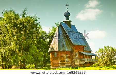 traditional russian wooden church for tourists in the ancient town of Suzdal , Russia - stock photo