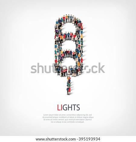 traffic lights people - stock photo