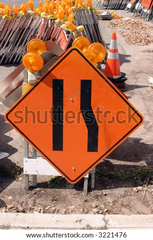 """traffic sign"" series ""lane ends, merge left"" - stock photo"