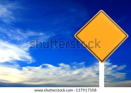 traffic sign, sky on background - stock photo