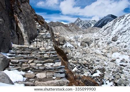Trail in Himalayas , Sagarmatha National Park, Nepal - stock photo