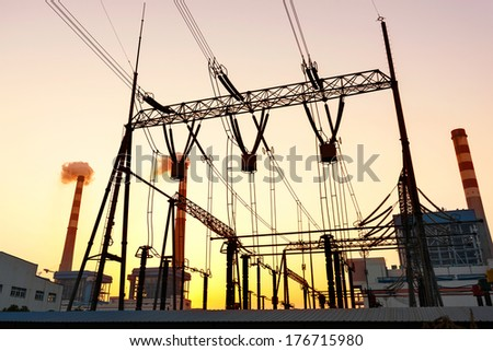 transmission tower in the sunset