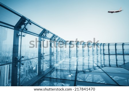 transparent viewing glass platforms, city scenery of the roof  - stock photo