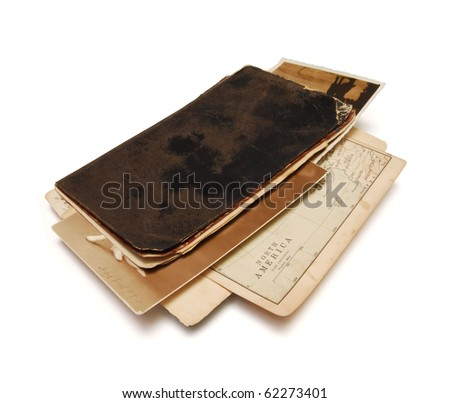 04 Travel memories, notebook from nineteenth century - stock photo