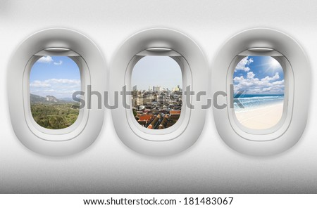 travel thailand, view of window aircraft.(paths inside easy replacement)