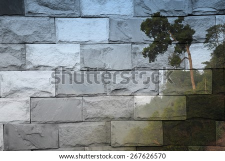 """""""tree and fog"""" Mural. The brick painting concept - stock photo"""