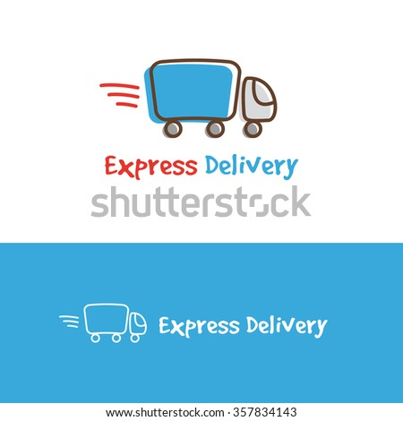 trendy cartoon truck logotype. Express delivery logo.